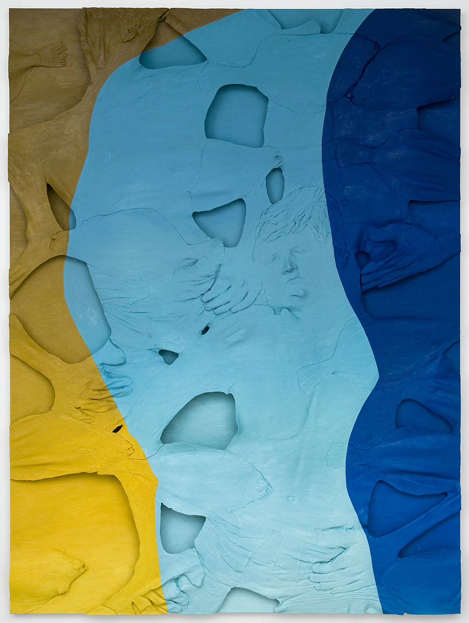"""Lucy Kim, He Left with the Flounders, 2014, oil paint and plastic on wood panel, 64"""" x 48"""""""