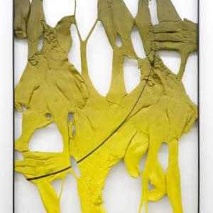 "Lucy Kim, Legacy 1, oil paint, spray paint, various plastics, wood, powder coated aluminum frame, 48"" x 36"""