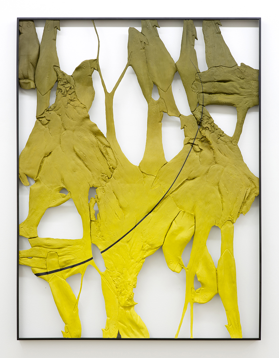 "Lucy Kim, Legacy 1, oil paint, spray paint, various plastics, wood, powder coated aluminum frame, 48"" x 36"""