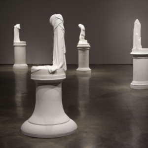 Lily Cox-Richard, The Stand (Possessing Powers), 2013, installation view, six large sculptures, three framed digital collages, a series of cast plaster objects in custom wall niches, and an artist book, dimensions variable