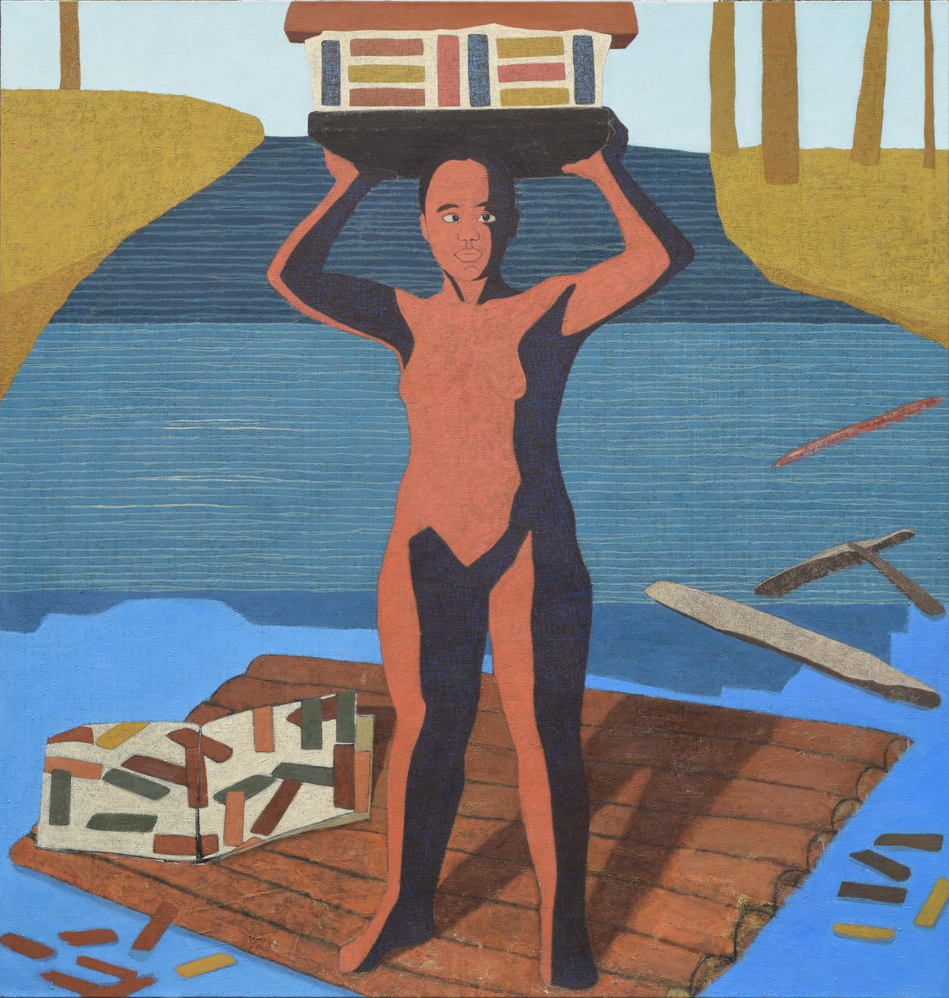 "Mequitta Ahuja, Journeyman I, 2015, oil on canvas, 84"" x 80"""