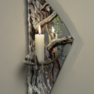 Nick Brown, Evergreen Antler, 2016, oil on broken mirror, stag antler, candle, 17 x 7 x 7 inches