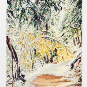 Nick Brown, Golden Bow, Over Falls Grave, Evergreens Attend Wearing Winter's White, 2016, watercolour on paper, mirrored paper, 16 x 12 inches