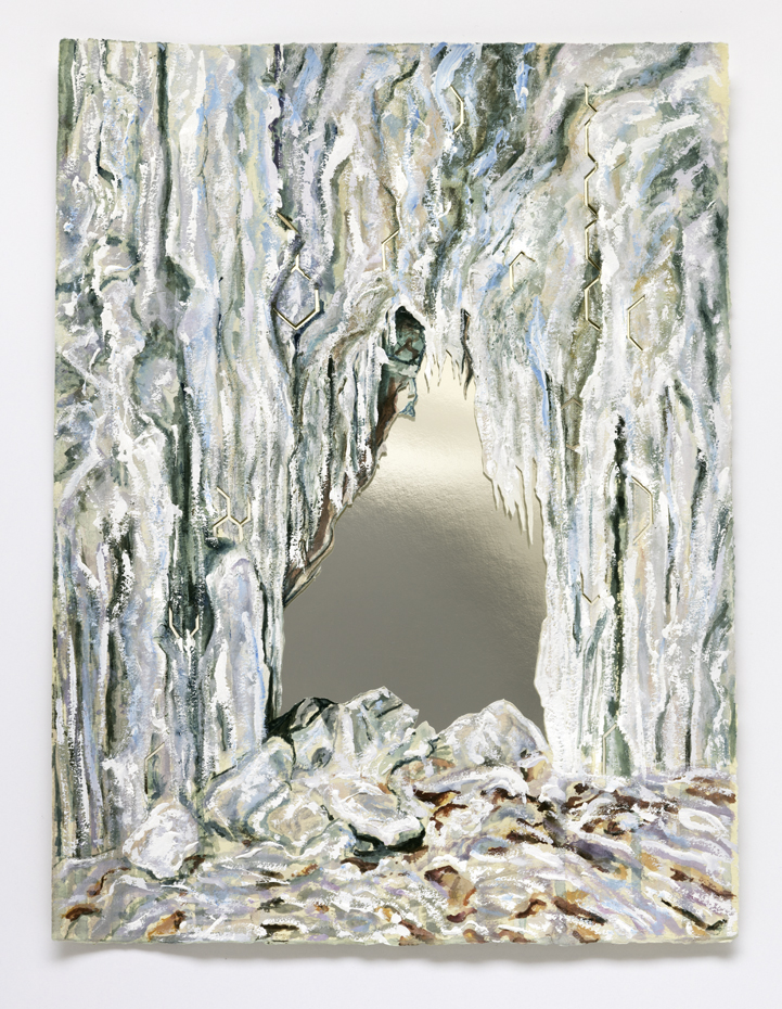 Nick Brown, The Ice Door 2016, watercolour on paper, mirrored paper, 16 x 12 inches