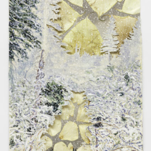 Nick Brown, My Path To You, United Together, Evergreens In the Void, 2016, watercolour on paper, mirrored paper, pressed rose petals and Calla Lillies, 16 x 12 inches