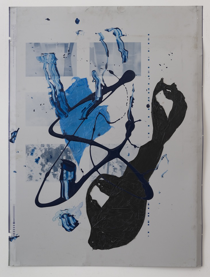 Ryan Foerster, Untitled, 2014, Printing plate, photo toner, plastic bags, 40 1/2 x 30 1/2 inches