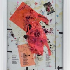 Ryan Foerster, Untitled, 2015, Aluminum printing plate, photo toner, plastic bags, aluminum frame, 43 3/4 x 33 3/4 inches