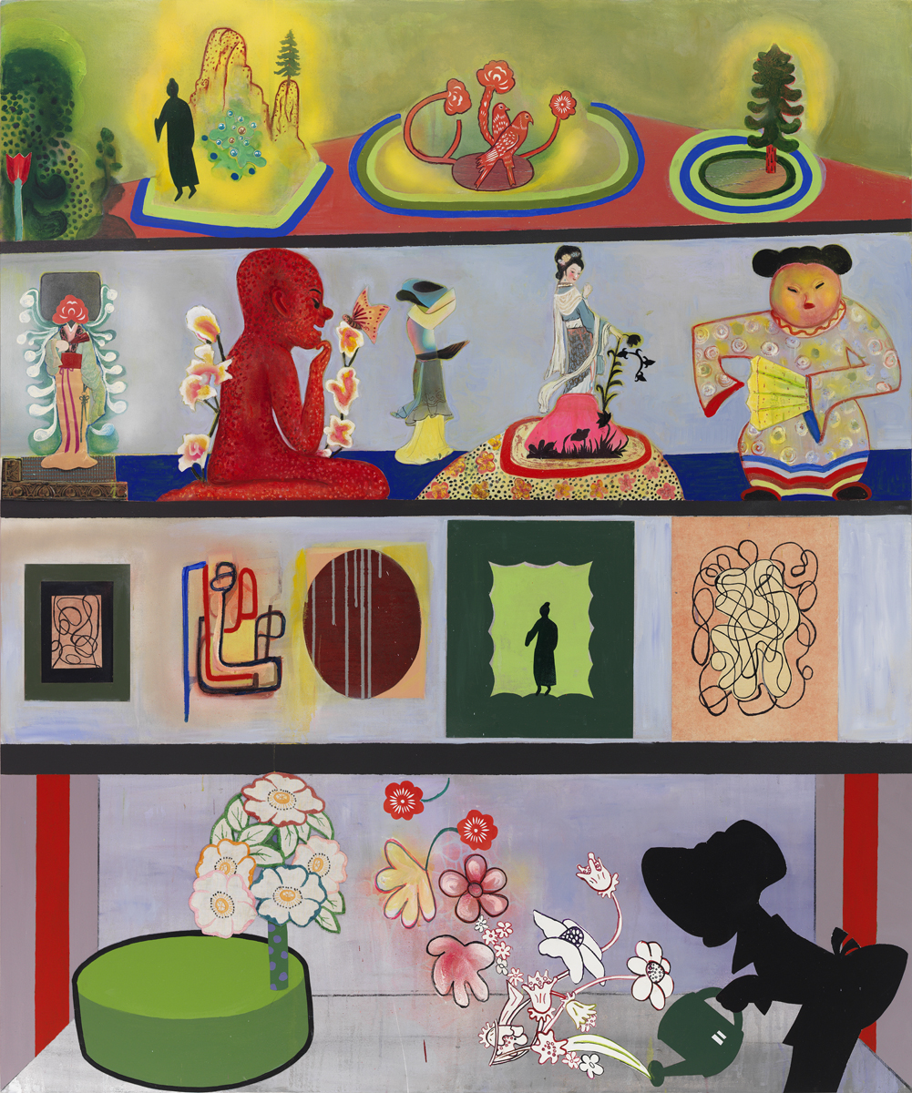 Phyllis Bramson, The Collector's Collection, (all that he owns!), 2014, mixed media and collage on canvas, 72 x 60 inches