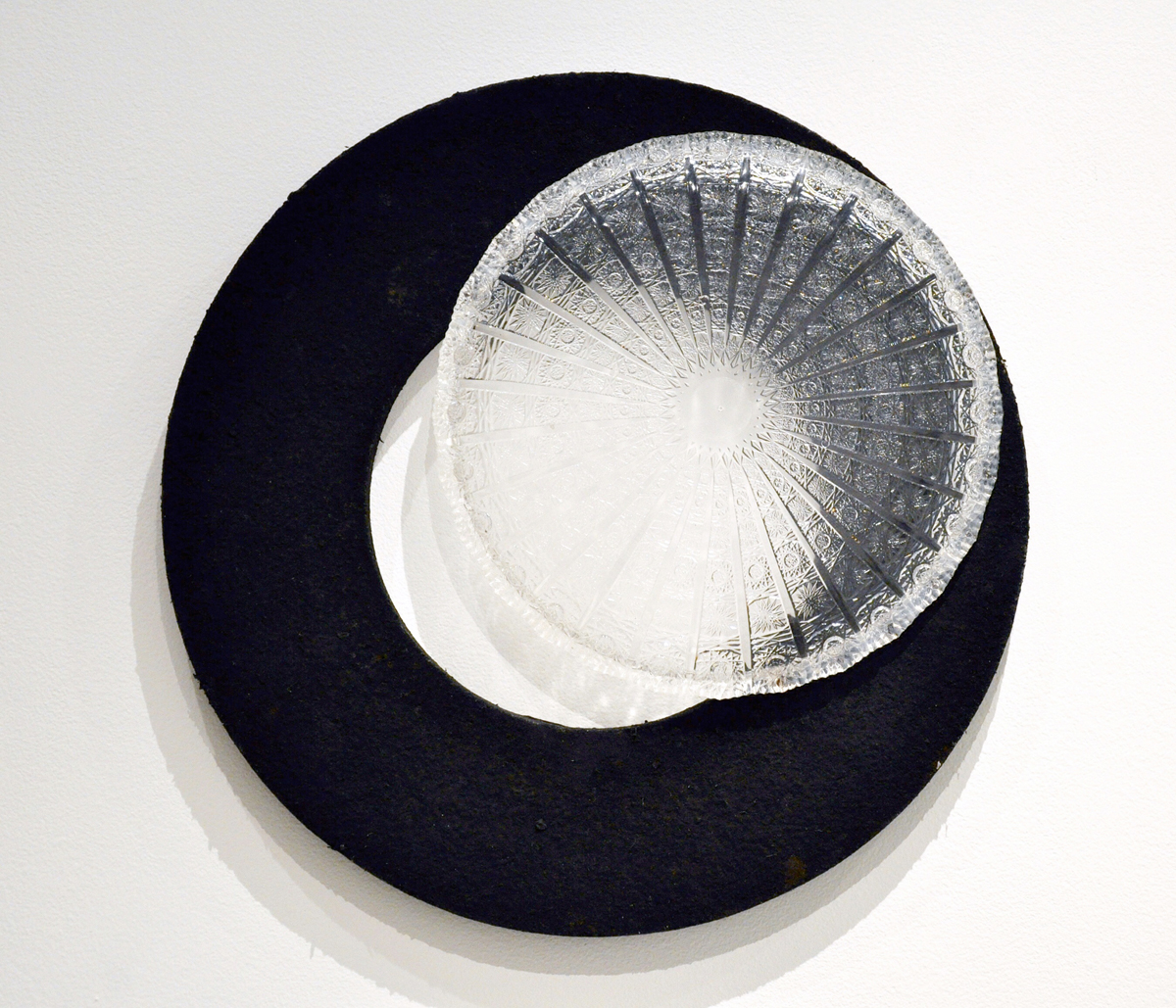 Heather Mekkelson,Waning Gibbous, 2013, recycled plastic, polycarbonate tray, iron filings, silicone, 18 x 18 x 3 inches