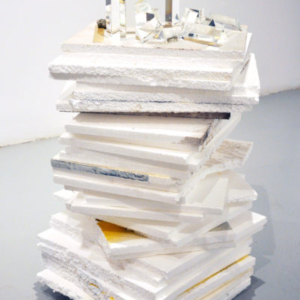 Heather Mekkelson, Light Escape and Entrapment, 2011-2013, styrofoam with foil and paint overspray, patent silver leaf, glass, brass, pyrite, epoxy, 20 x 16 x 29 inches