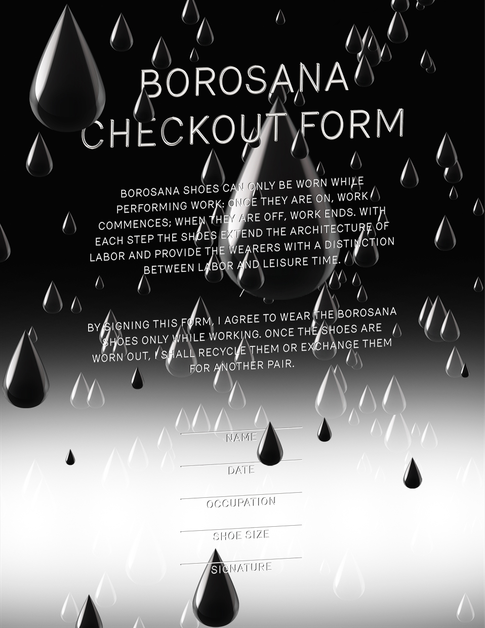 Irena Haiduk, Nine Hour Delay, Bureaucratic Document One: Borosana Checkout Form, 2013, two sided, A4