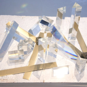 Heather Mekkelson, Light Escape and Entrapment (detail), 2011-2013, styrofoam with foil and paint overspray, patent silver leaf, glass, brass, pyrite, epoxy, 20 x 16 x 29 inches