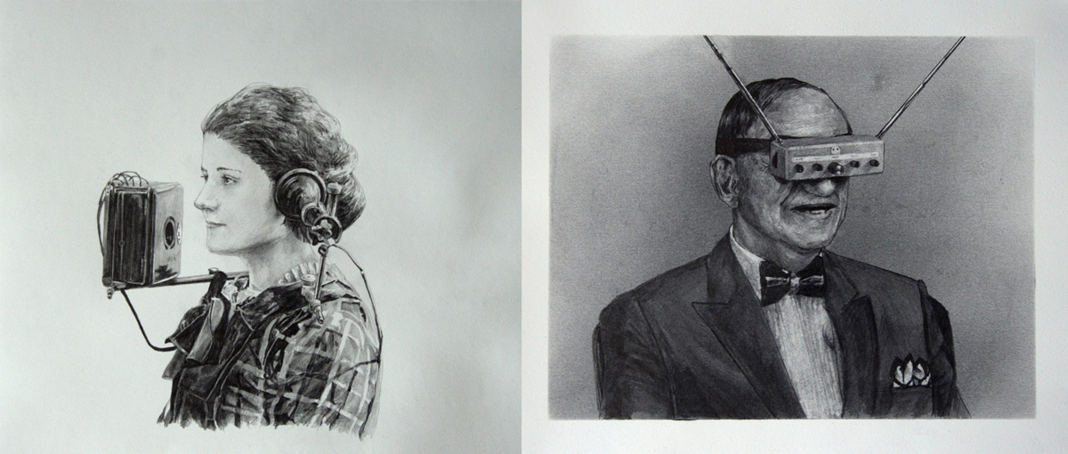 Jason Kofke, Audio-Video, 2014, graphite on toned paper, 9 x 25 inches