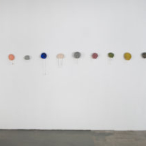 Laura Davis, Neckslices, 2013, air drying clay, bronze, brass, copper, silver, steel, necklaces, charms, plastic, paint, electrical shrink plastic, eyeshadow, each piece approximately, 12 x 5 x 4 inches