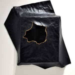 Heather Mekkelson, Event Horizon, 2013, repurposed MDF riser with hand-rubber lacquer finish, burlap, vinyl, 40 x 33 x 6 inches