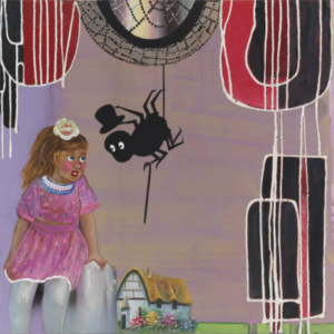 Phyllis Bramson, The Spider Came a Call'in, 2013, mixed media and collage on canvas, 36 x 36 inches