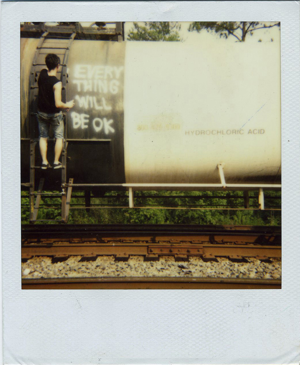 Jason Kofke, Everything Will Be OK, 2008, Polaroid documentation of installation, 3 x 4 inches