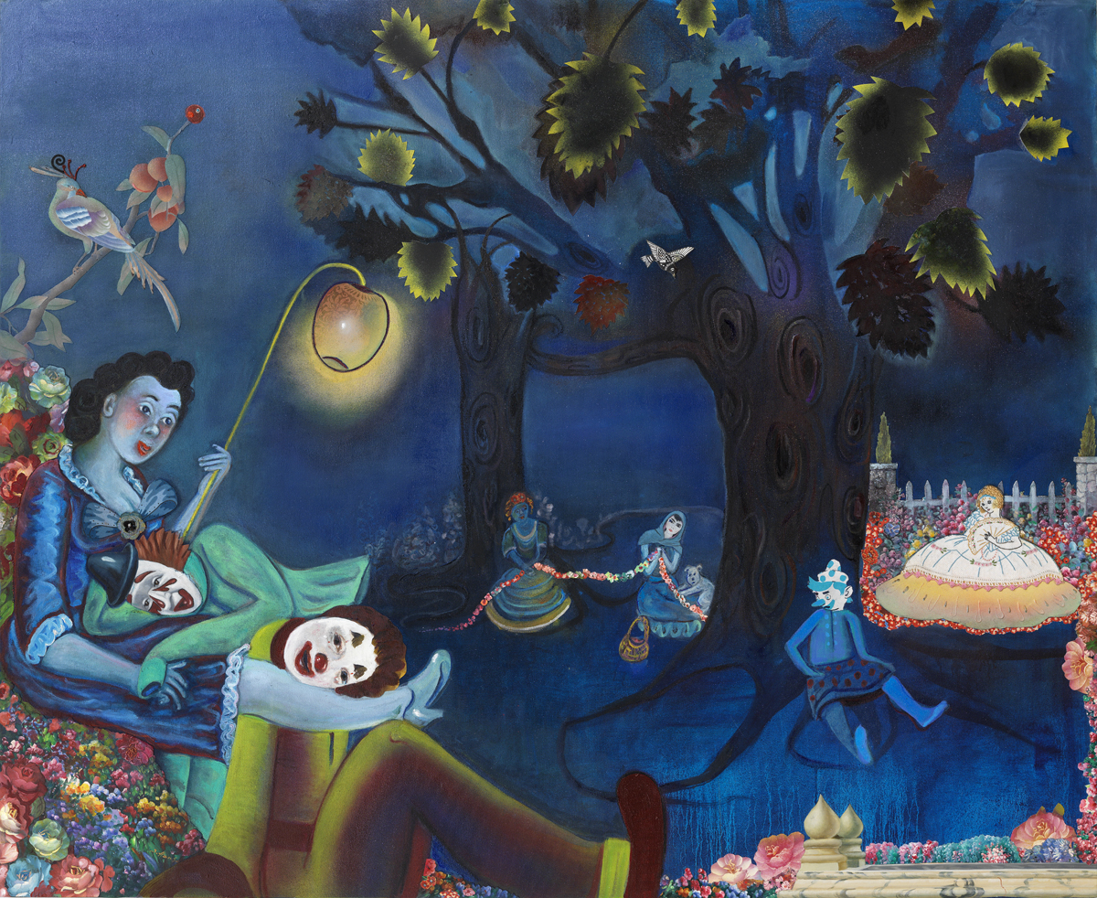 Phyllis Bramson, Paramours and Mischief (at Night), 2011, mixed media and collage on canvas, 54 x 64 inches