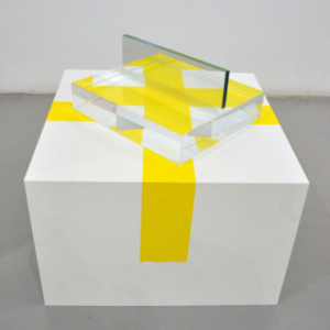 Heather Mekkelson, Direction Moved, 2014, MDF, enamel, tape, acrylic, first surface mirror, 16 x 16 x 16 inches