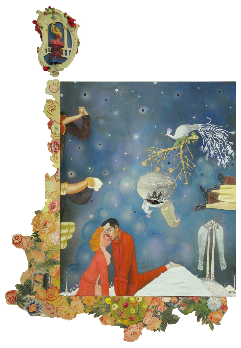 Phyllis Bramson, Dark Was the Night, Cold was the Ground, 2010, mixed media and collage on canvas, 83 x 58 inches