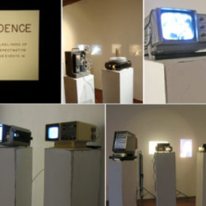 Jason Kofke, Optimism Bias, 2009, 1980's era portable televisions, 35mm slide projectors, audio and video footage of the reactions of the families of the crew of the Space Shuttle Challenger as it exploded in 1986, variable size