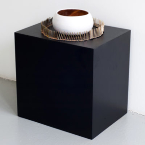 Heather Mekkelson, Planet Thirteen, 2013, wood, enamel, wax, tempera powder, metallic powder, collated brass nails, 28 x 22 x 12 inches