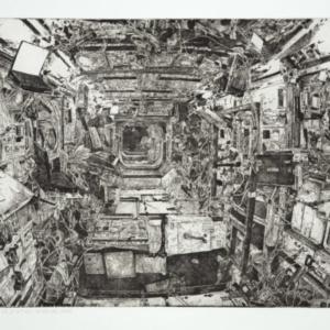 Jason Kofke, ISS Interior 1998, 2008, etching, 22 x 30 inches