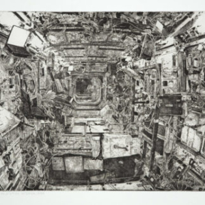 Jason Kofke, ISS Interior 1998, 2008, etching, 22 x 30 inches
