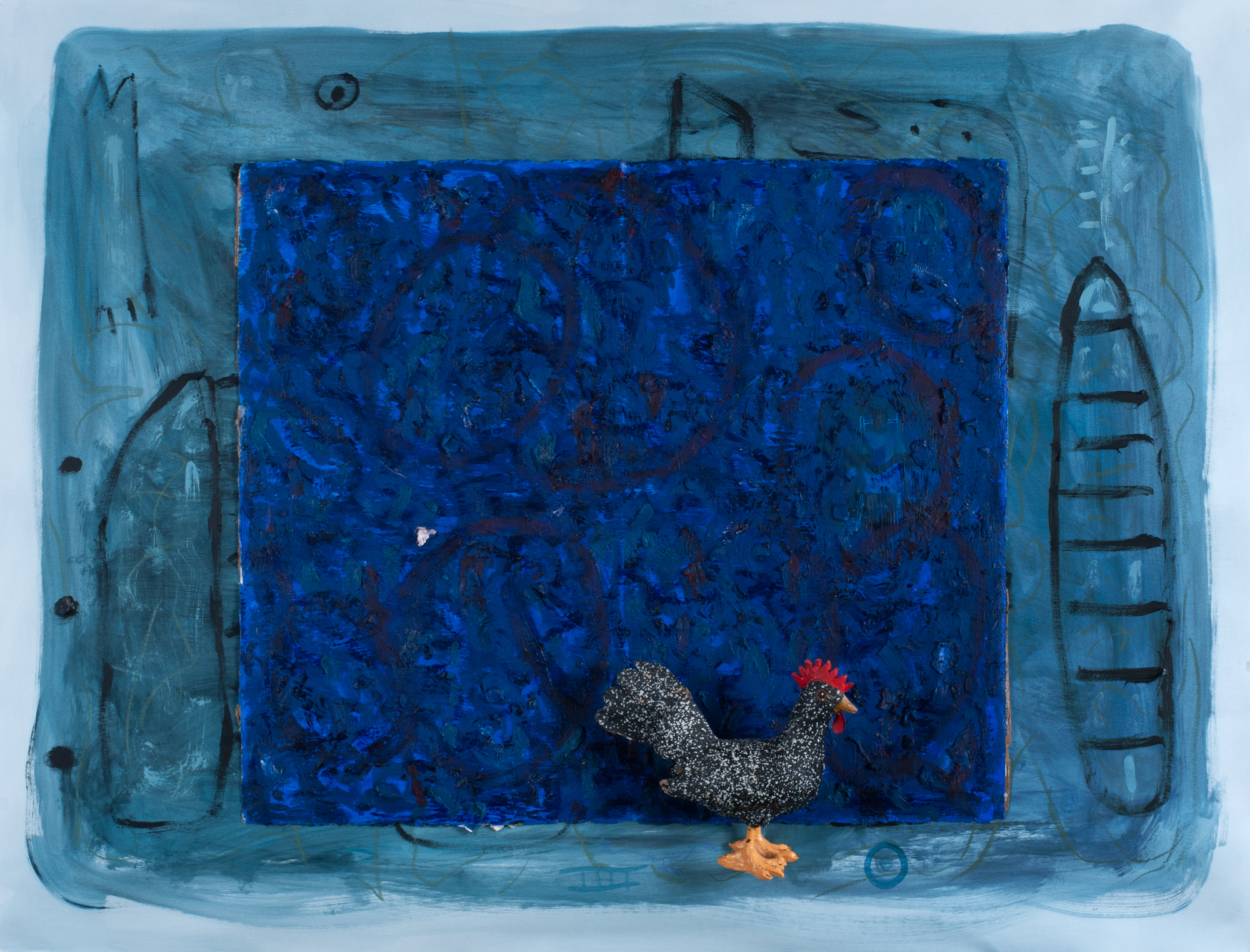 Floyd Newsum, Rooster in a blue Night, 2014, acrylic and oil on paper with collage element, 26 x 42 inches