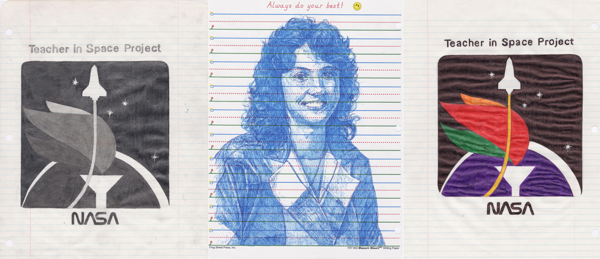 Jason Kofke, Teacher In Space Project, 2012, ball point pen, #2 graphite pencil, student notebook pages, 11 x 25 inches