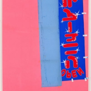 Joe Fyfe, Large Kappabachi Painting, 2014, felt, gingham, and cotton banner, 80 x 68 1/2 inches