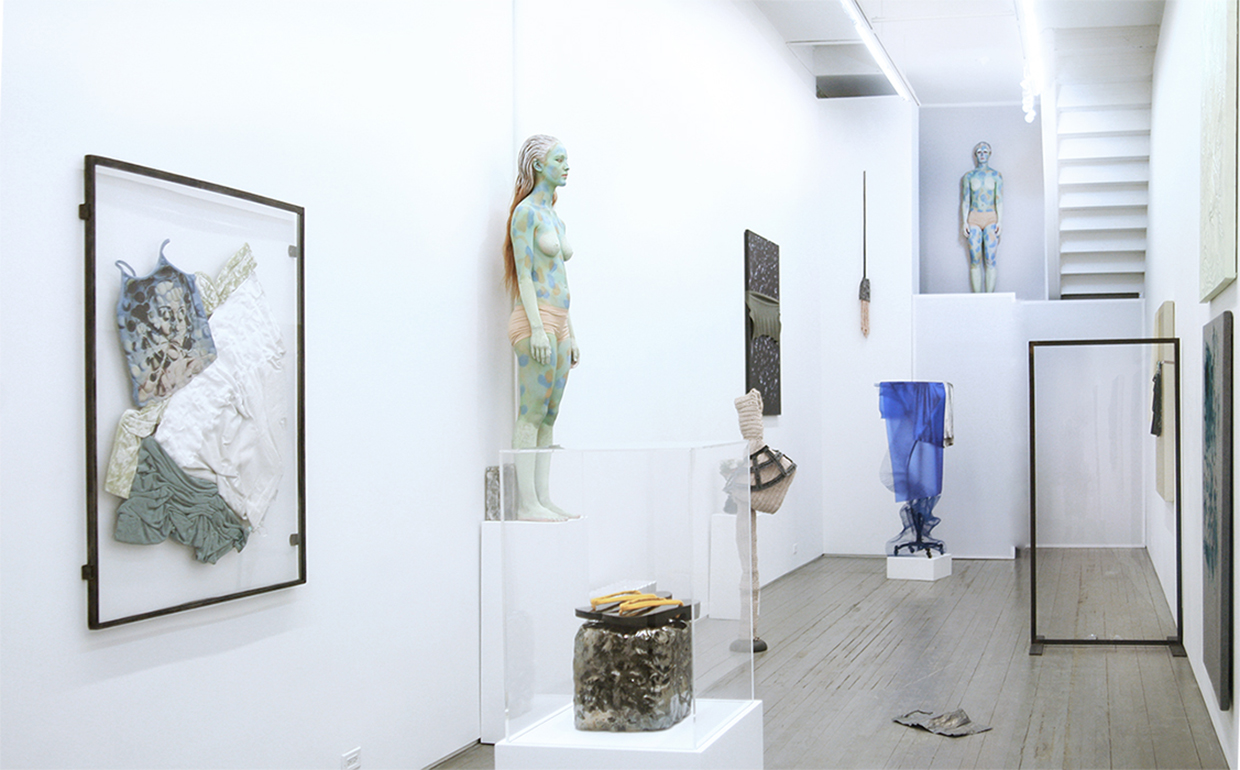 Donna Huanca, EchoImplant, 2015, paint, metal, textiles, leather, wood, synthetics, performance, 800 sq feet