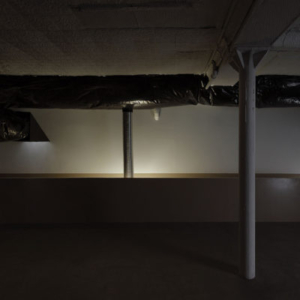 Bill Jenkins, Wet Light (gallery view), 2014, plastic, cardboard, mylar, aluminum tube, wood, paint, sheetrock, 12 x 37 x 20 feet
