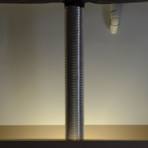 Bill Jenkins, Wet Light (duct), 2014, plastic, mylar, aluminum tube, 9 x 1 x 1 feet.