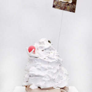 Sara Magenheimer, Distracted Woman Church Scene, 2014, Ceramic, ping pong ball, steel wire, inkjet print, 15 x 25 inches