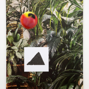Sara Magenheimer, Stint chisel sect, 2015, collaged pigment print, Sintra, hanging ball with vinyl paint, 37 x 54 inches