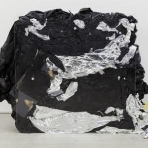 Bill Jenkins, Wet Light (compressed), 2014, plexiglass, steel, plastic, cardboard, mylar, aluminum tube, paint, sheetrock, wood, 4 x 4 x 1 feet