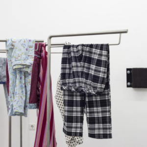 Park McArthur, Black & White Plaid Commode, Breakfast Commode, Pink Love Commode, Calvin Klein Commode, 2014, 4 stainless steel stands, pajama pants 60.25 x 25.6 x 17.7 inches each, Passive Vibration Isolation 4, 5, 2014, laminated rubber loading dock bumpers, 9.8 x 11.8 x 3.9 inches each