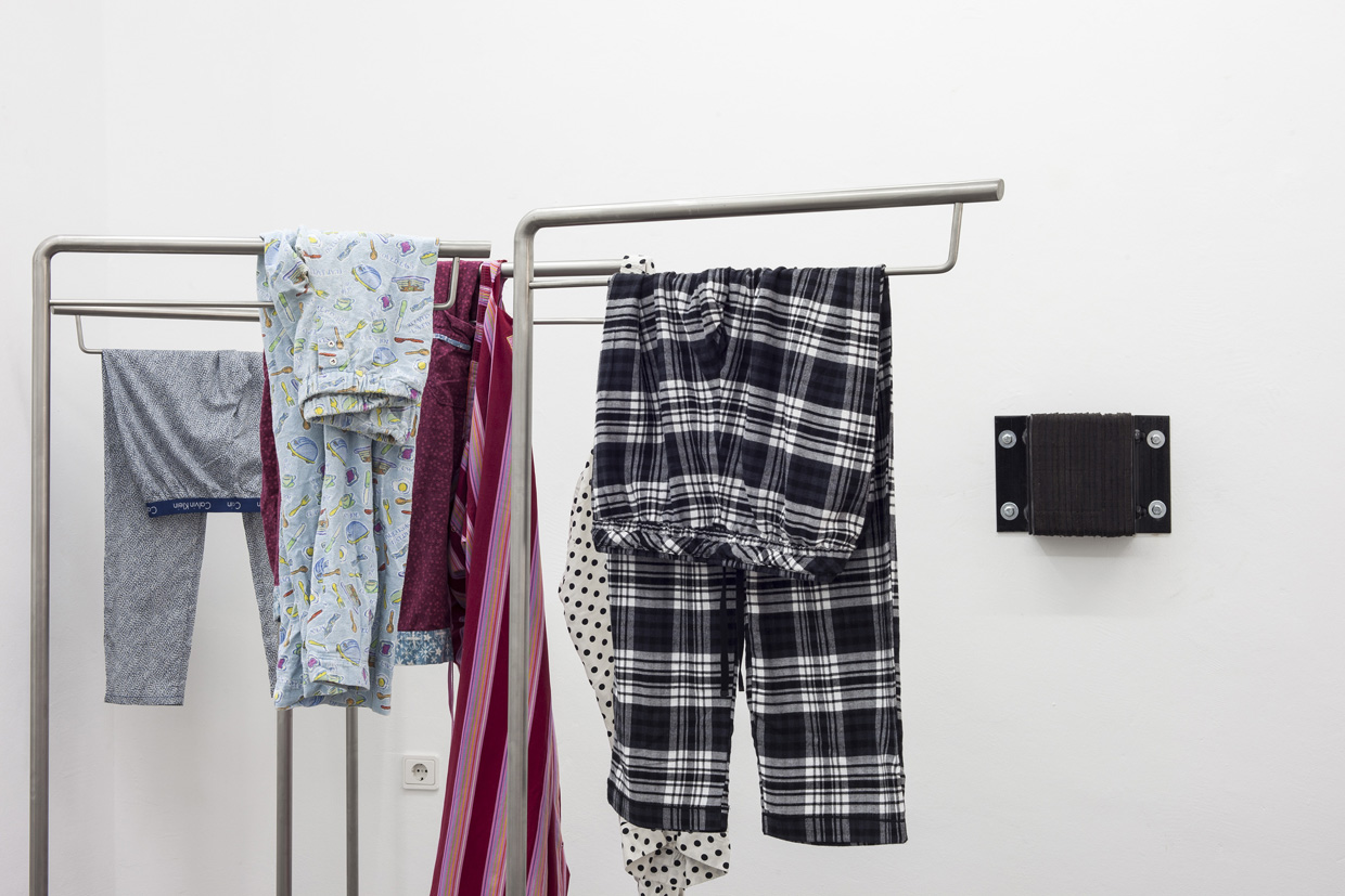 Park McArthur, Black & White Plaid Commode, Breakfast Commode, Pink Love Commode, Calvin Klein Commode, 2014, 4 stainless steel stands, pajama pants 60.25 x 25.6 x 17.7 inches each, 