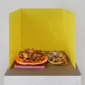 Georgia Sagri, Daily Bread (SATURDAY), 2015, sculpture, wood, acrylic glass, paper, clay and cooked fish, 60 x 18 x 19 1/2 inches