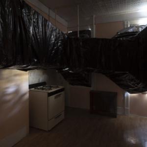 Bill Jenkins, End User Kitchen, 2014, plastic, cardboard, mylar, wood, 12 x 12 x 17 feet
