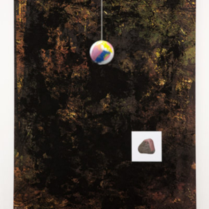 Sara Magenheimer, Floating like the moans the plants, 2015, collaged pigment print, Sintra, hanging ball with vinyl paint, 37 x 54 inches