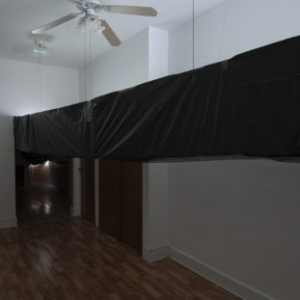 Bill Jenkins, End User Bedroom, 2014, plastic, cardboard, mylar, wood, 12 x 12 x 22 feet