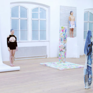 Donna Huanca, Sade On DMT, 2012, paint, metal, textiles, leather, wood, synthetics, performance, 1200 sq feet
