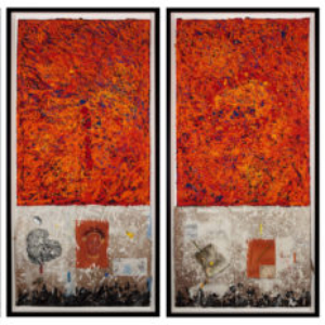 Floyd Newsum, What's Your Primary, 2012, oil and mixed media on paper, 31 x 61 inches each