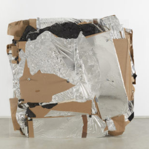 Bill Jenkins, End User Compressed, 2014, plexiglass, steel, plastic, cardboard, mylar, wood, 4 x 4 x 1 feet