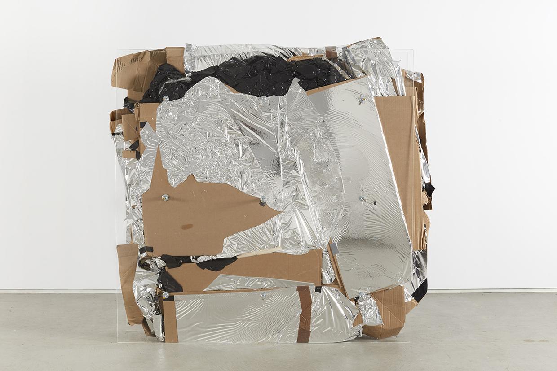 Bill Jenkins, End User Compressed, 2014, plexiglass, steel, plastic, cardboard, mylar, wood, 4 x 4 x 1 feet