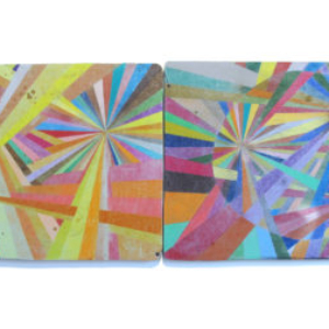 Alicia McCarthy, Untitled, 2013, color pencil, house paint, spray paint on found wood, 61 1/2 x 22 1/2 inches
