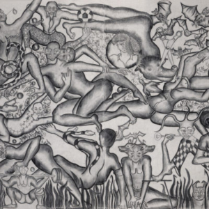 Amita Bhatt, A Fantastic Collision of The Three Worlds # XXVI, 2013, charcoal on canvas, 9 x 12 feet