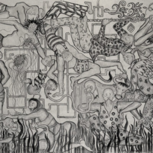 Amita Bhatt, A Fantastic Collision of The Three Worlds # XVIII, 2013, charcoal on canvas, 9 x 12 feet